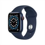 Apple Watch Series 6 GPS + Cellular, 40mm Blue Aluminum Case with Deep Navy Sport Band - Regular