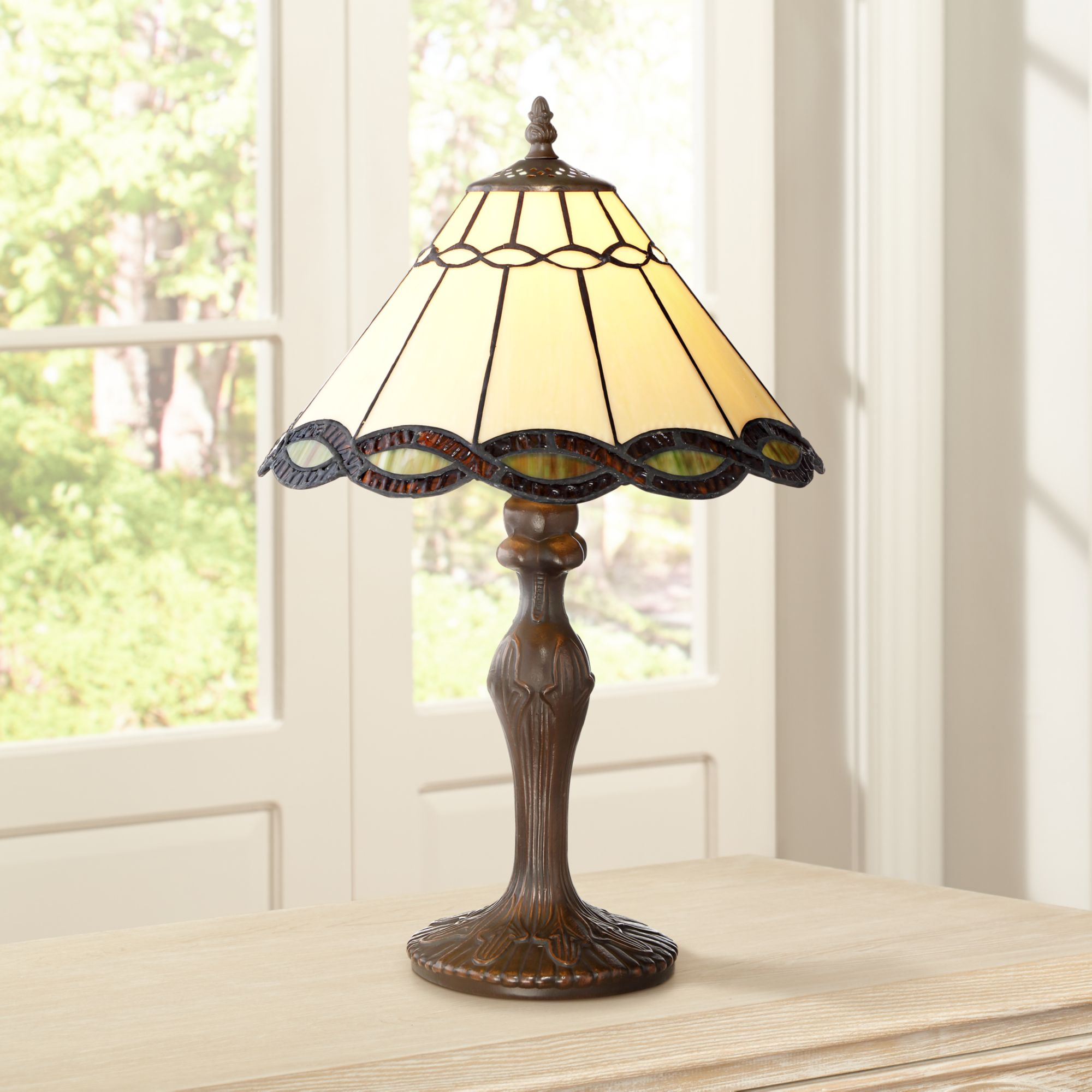"Robert Louis Tiffany Traditional Accent Table Lamp 18 1/2"" High Bronze Woven Art Glass Shade for Bedroom Bedside Office"