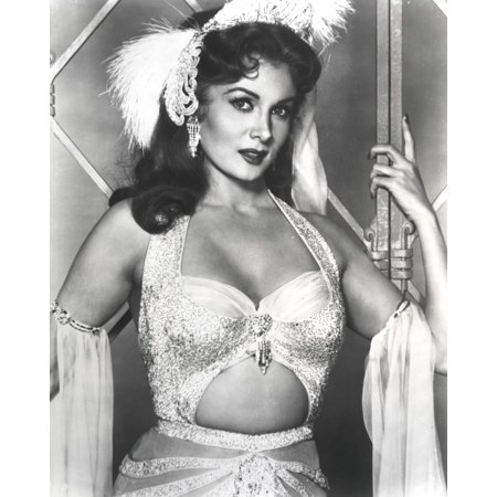 Rhonda Fleming wearing a dancer outfit with feathers in her hair Photo Print - Gogo Dancer Outfits