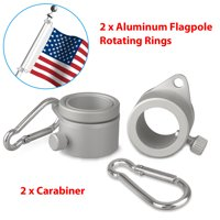"EEEKit Flag Supply Aluminum Flagpole Rotating Rings - 2 Pack -0.75- 1"" Mounting Rings Clips- Lightweight Durable Design with Carbiner - Tangle Free Never Furl Spinning Flagpole Ring - Silver"