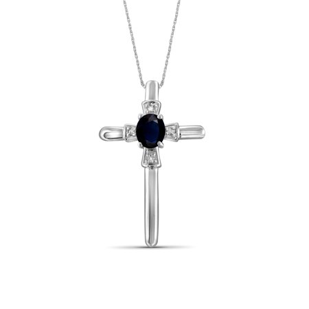 0.32 Carat Sapphire Gemstone and Accent White Diamond Cross Pendant