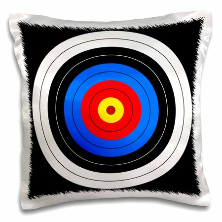 3dRose Target with red yellow black white and blue rings - archery, aim, goal, hit, background, sport, Pillow Case, 16 by 16-inch