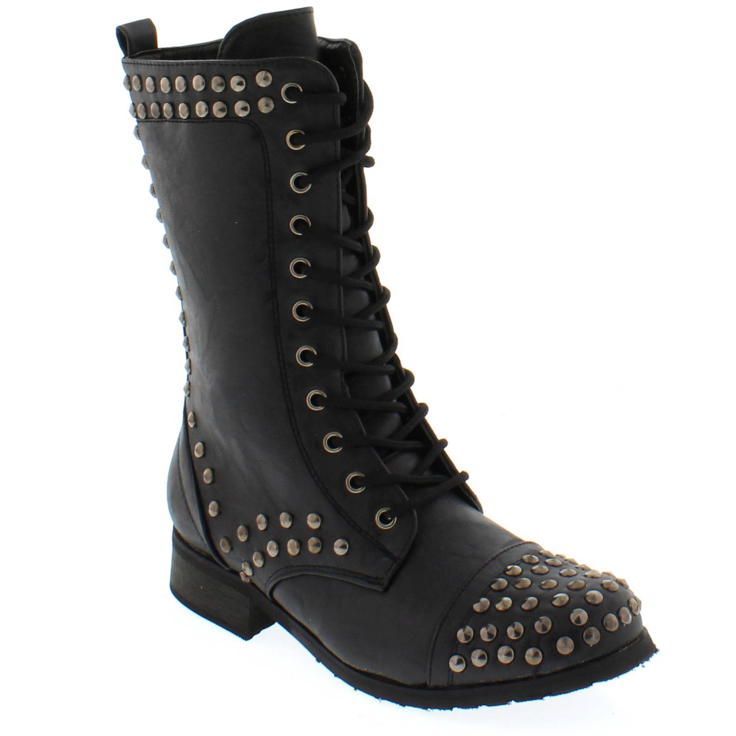 Shoes of Soul Women's Laces Buckle Studed Boots