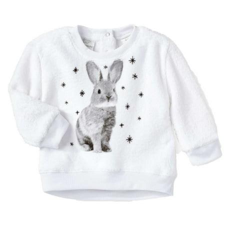 Infant & Toddler Girls Fuzzy White Bunny Rabbit Sweatshirt Top Baby Sweater 3-6m