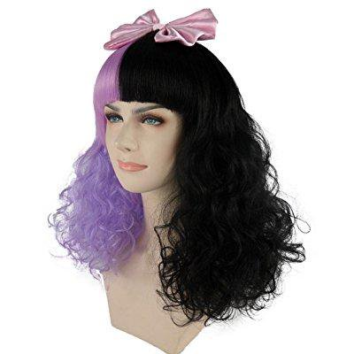 womens two tone long curly wigs with straight bangs pink satin ribbon bows for cosplay themed party lavender and - Long Curly Wigs