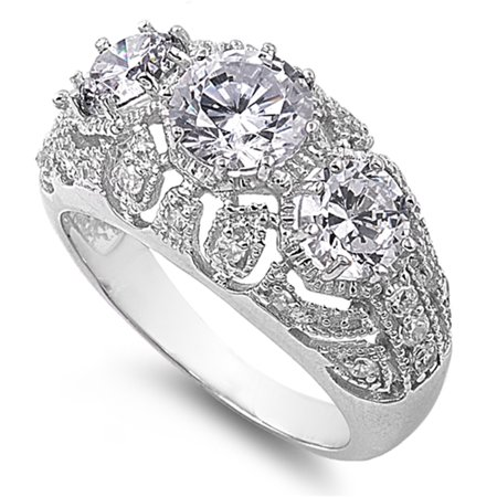Round White CZ Filigree Engagement Ring ( Sizes 5 6 7 8 9 10 ) New .925 Sterling Silver Band Rings (Size 6)
