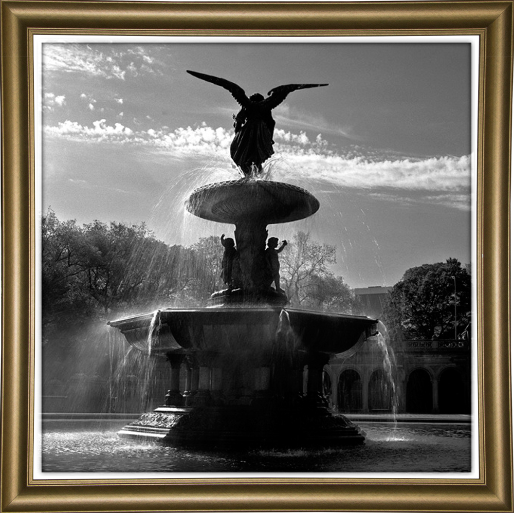 """Fountain Central Park-HARBUI51796 Print 16""""x16"""" by Harold Silverman - Buildings & Cityscapes in a Bistro Gold"""