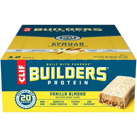 CLIF Builders Protein Bars, Gluten Free, 20g Protein, Vanilla Almond Flavor, 12 Ct, 2.4 oz