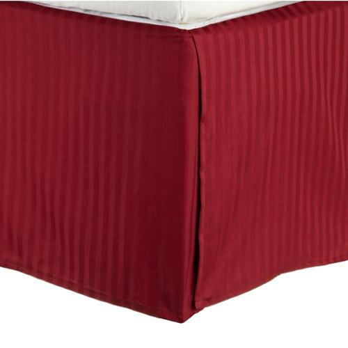 Simple Elegance Egyptian Cotton 300 Thread Count 15 inch Drop Striped Flat Bedskirt Queen / Burgundy