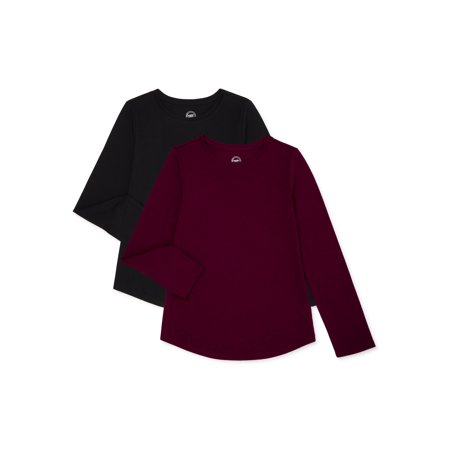 Wonder Nation Girls Long Sleeve Kid Tough T-Shirts, 2-Pack, Sizes 4-18 & Plus