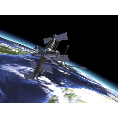 Mir Russian Space Station in orbit over Earth Poster Print