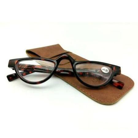 Mens Womens Vintage Reading Glasses Tortoise Half Moon Readers Spring Hinges - +2.00 (Half Moon Glasses)