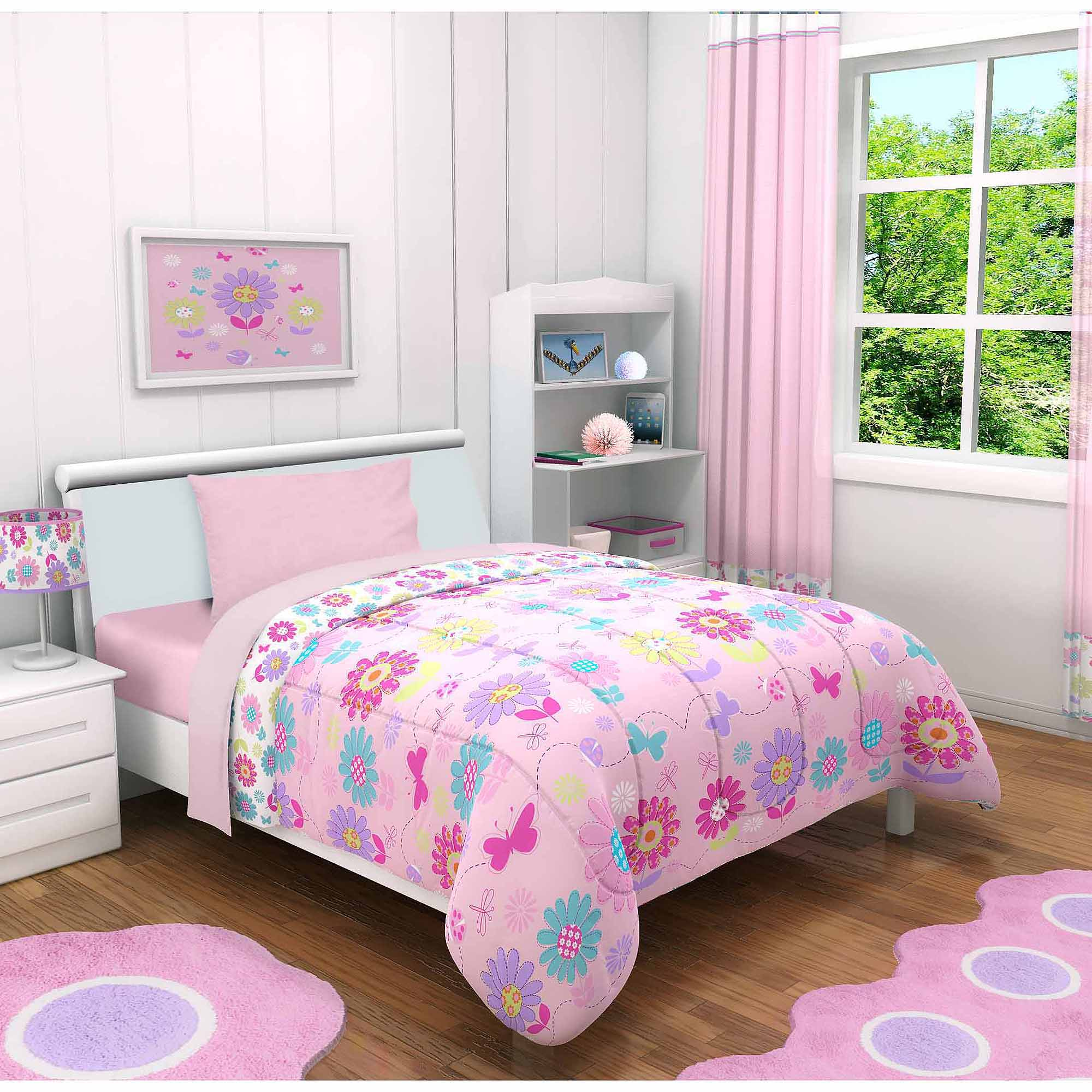 Idea Nuova Daisy Flowers 3-Piece Toddler Bedding Set with BONUS Matching Pillow Case