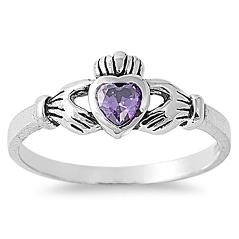USA Seller Celtic Claddagh Ring Sterling Silver 925 Best Price Jewelry Amethyst