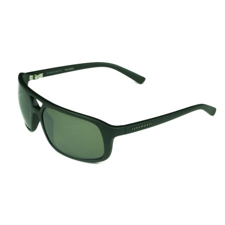 Men's Livorno Satin Black Plastic Frame Grey Polarized Lens Sunglasses