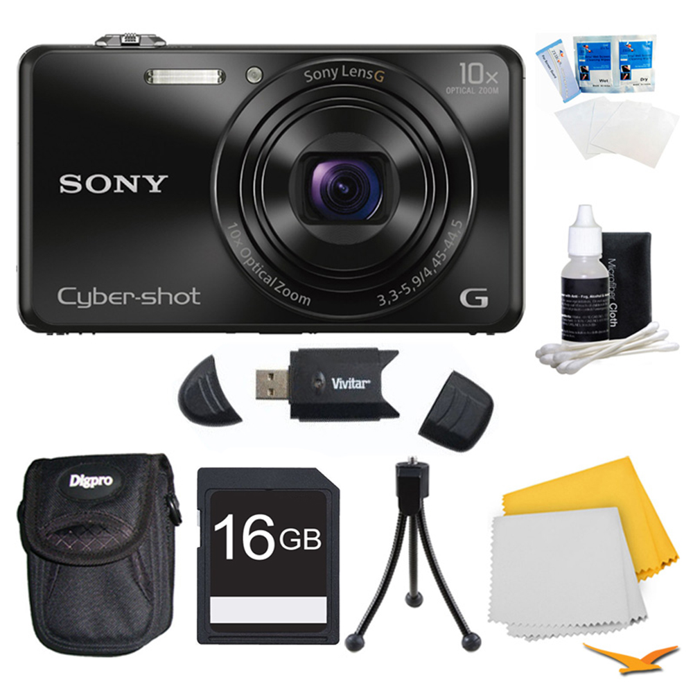Sony DSC-WX220/B DSCWX220 WX220 WX220B DSC-WX220 Black Digital Camera Bundle - Includes Camera, 16GB SDHC/SDXC Memory Card, Carrying Case, SD USB 2.0 Card Reader, Flexible Mini Table-top Tripod, 3 Pc