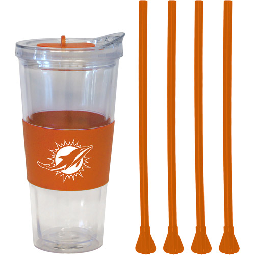 22oz NFL Miami Dolphins Straw Tumbler with 4 Colored Replacement Propeller Straws