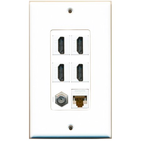 RiteAV - 4 Port HDMI 1 Coax Cable TV- F-Type 1 Cat6 Ethernet White Wall Plate Decorative ()