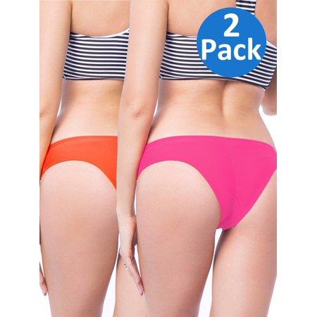 e8355b614c4 SAYFUT - SAYFUT Women s Itsy Back Ruched Cheeky Thong Bikini Bottoms  Underwear Stretch Panty 2 Pack - Walmart.com
