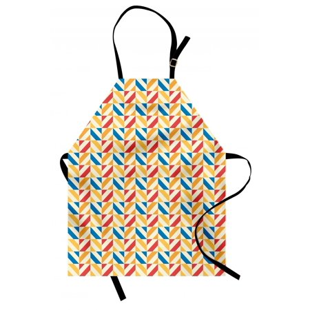 Kids Apron Checkered Pattern with Shabby Colored Diagonally Striped Squares Retro Tile, Unisex Kitchen Bib Apron with Adjustable Neck for Cooking Baking Gardening, Blue Marigold Scarlet, by Ambesonne Apron Patterns Children