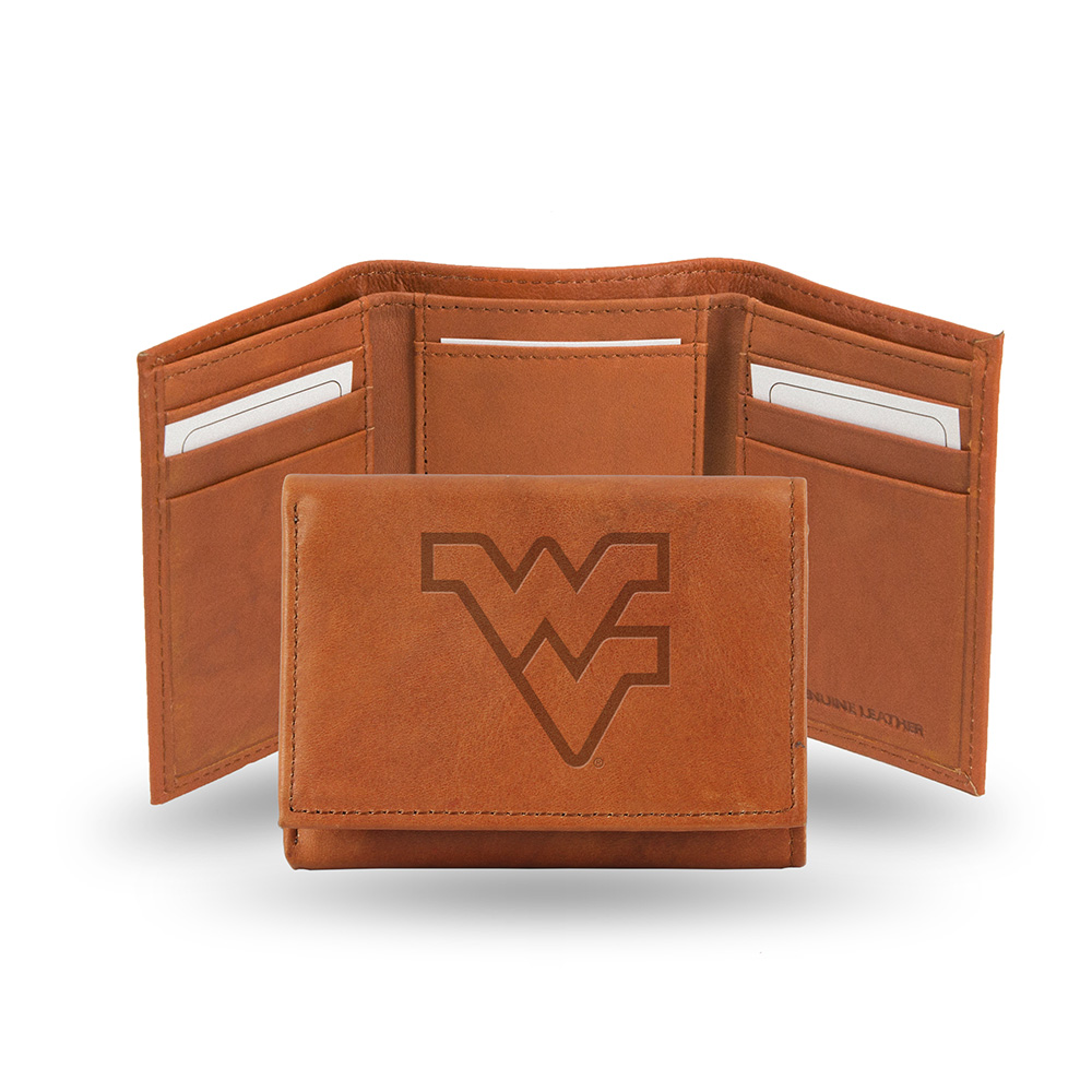West Virginia Mountaineers  Tri-Fold Wallet (Pecan Cowhide)