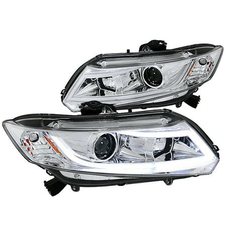 Spec-D Tuning 2012-2014 Honda Civic 2/4Dr Projector Headlights W/ New Led Light Bar 2011 2012 2013 2014 (Left + Right) 03 Honda Civic Projector Headlights