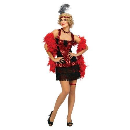 20's Charleston Speakeasy Flapper Dress Costume Adult One Size Fits - Speakeasy Party Attire