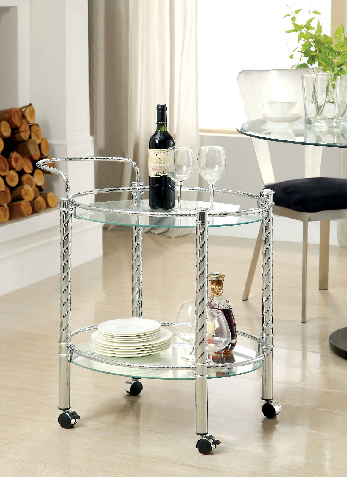 1PerfectChoice Traco Contemporary Style Round Serving Cart Castors Chrome Base Glass Shelves by 1PerfectChoice