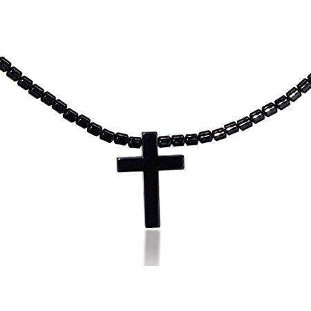 """Jewels Fashion Hematite Necklace 16"""" Inches (Cross)"""