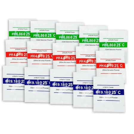 15-Pack Buffer Powder For pH Meters - Works With All Electronic pH Meters Water Testing Equipment
