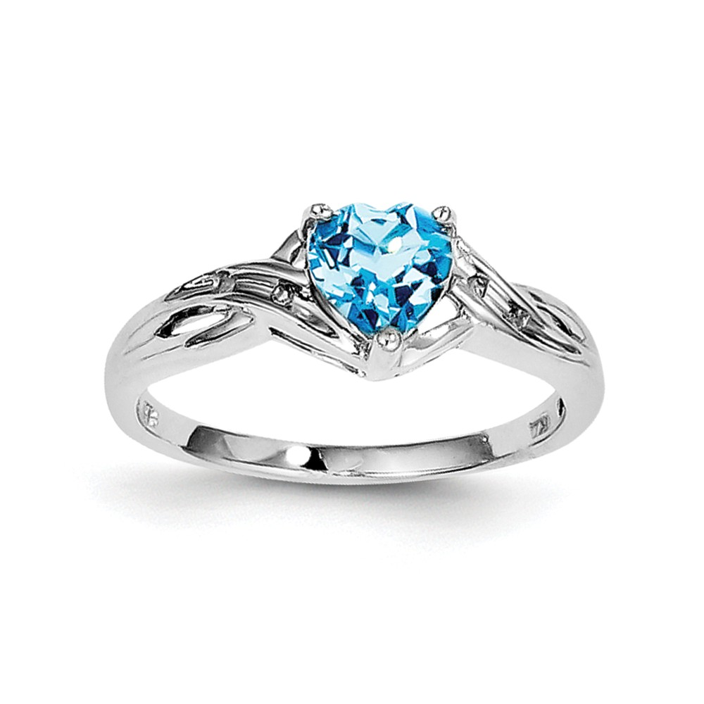Sterling Silver Rhodium Plated Dia. Lt Swiss Blue Topaz Heart Ring Size 7