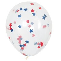 Latex Patriotic Star Confetti Balloons, 16 in, Red White & Blue, 5ct