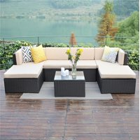 7 Piece Outdoor Rattan Wicker Patio Sofa & Table Set Cushioned Lawn Garden