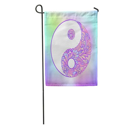 LADDKE Abstract Symbol of Yin and Yang This Tattoo Badges Patch Stock Line Mandala Ying Garden Flag Decorative Flag House Banner 28x40