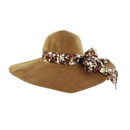 HATWNSTW-BN-FLR-008 Faddism Stylish Women Summer Straw Hat Brown Design with Brown Flower - Coconut Cup With Flower And Straw