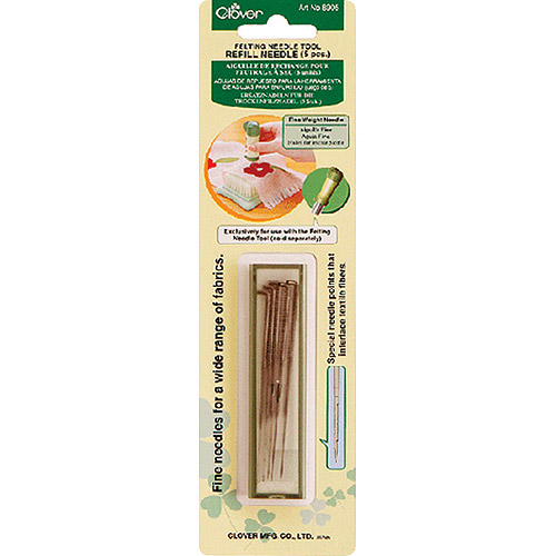 Clover Felting Needle Tool Refill, Fine Weight, 5-Pack