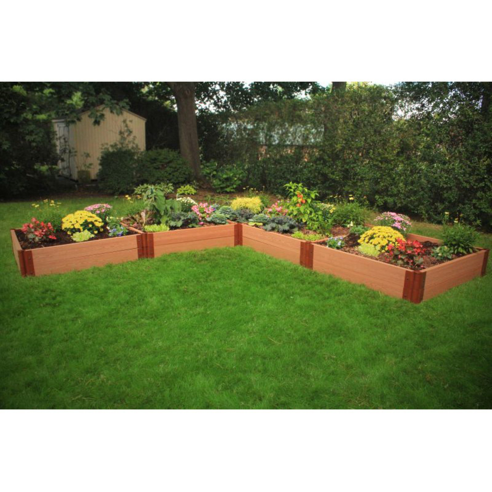 Frame It All 2-inch Series Composite L-Shaped Raised Garden Bed Kit - 12ft. x 12ft. x 11in.