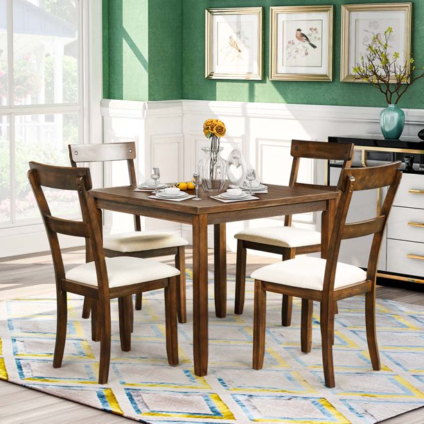 dining room table sets of 4 people 5 piece wood dining
