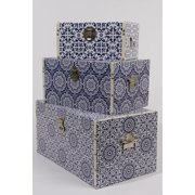 Set of 3 Seaside Treasures Navy Blue and Ivory Floral Medallion Faux Leather Storage Trunks
