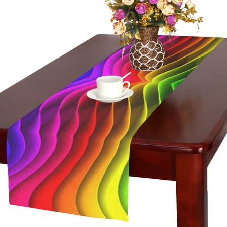 MYPOP Rainbow Funny Table Runner Table Decoration for Wedding Party Dinner Holiday Picnic 16x72 Inches](Rainbow Table Decorations)
