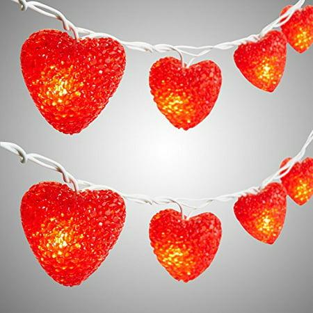 online retailer ad2b3 63b52 Nantucket Home Valentine's Day EVA Red Hearts String Lights, Set of 10  Lights
