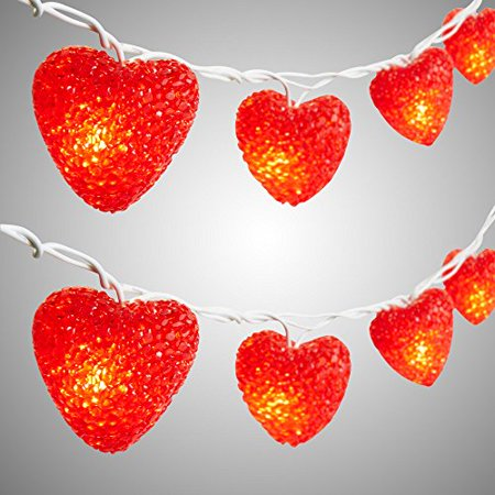 Nantucket Home Valentine's Day EVA Red Hearts String Lights, Set of 10 Lights - Valentine Diys