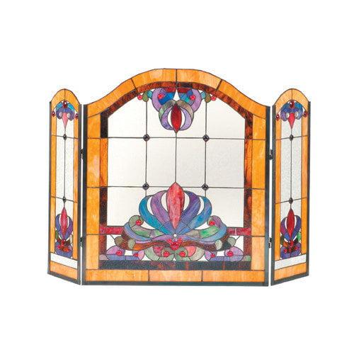 Dale Tiffany Anemone 3 Panel Glass Fireplace Screen - Walmart.com