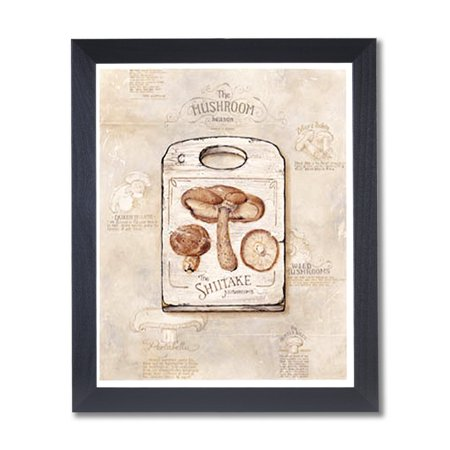 Mushrooms Kitchen Cafe Contemporary Wall Picture Black Framed Art Print