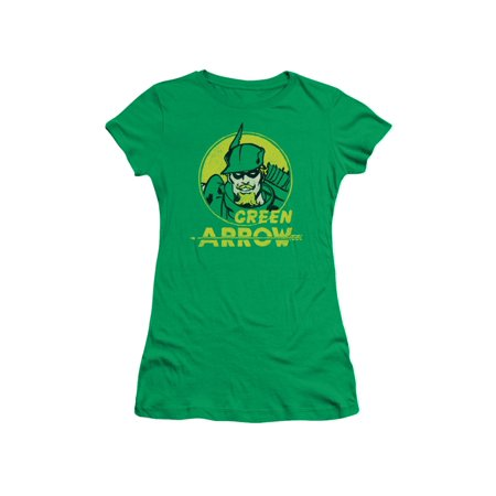 Green Arrow DC Comics Superhero Retro Comic Circle Juniors Sheer T-Shirt Tee