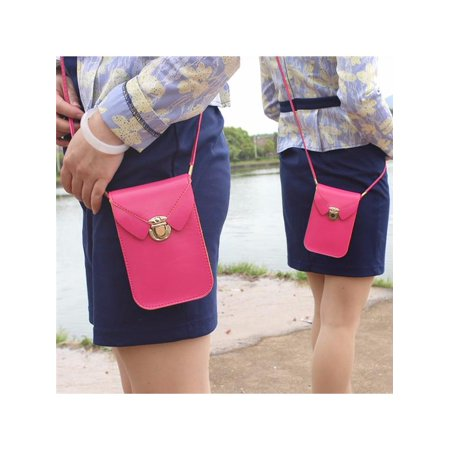 Fashion PU Leather Shoulder Bag Woman Strap Wallet Purse Portefeuille Mobile Phone Package for under 5.8 Cellphone, Mother Gifts