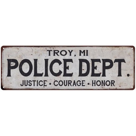 TROY, MI POLICE DEPT. Home Decor Metal Sign Gift 6x18