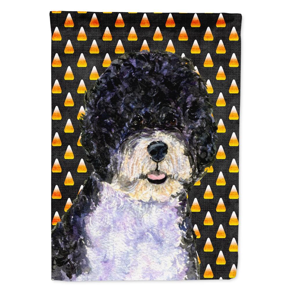 Portuguese Water Dog Candy Corn Halloween Portrait Garden Flag