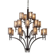 Barringer 8+8+4-Light Chandelier in Aged Bronze with Tan Mica Shades