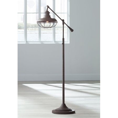Boom Wall Lamp (Franklin Iron Works Industrial Floor Lamp Boom Style Earthy Rust Metal Cage for Living Room Reading Bedroom Office )